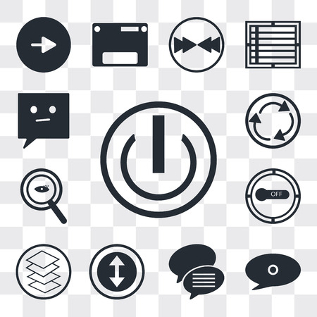 Set Of 13 simple editable icons such as On off power button, Speech bubble black, Conversation speech bubbles, Selectioned Circle, Overlay, Button on off, web ui icon pack