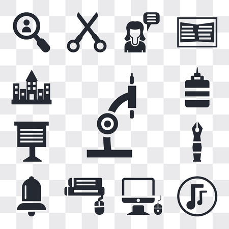 Set Of 13 simple editable icons such as Microscope, Musical note, Monitor and computer mouse, Book Alarm bell, Fountain pen, Teacher giving lecture, web ui icon pack Ilustração