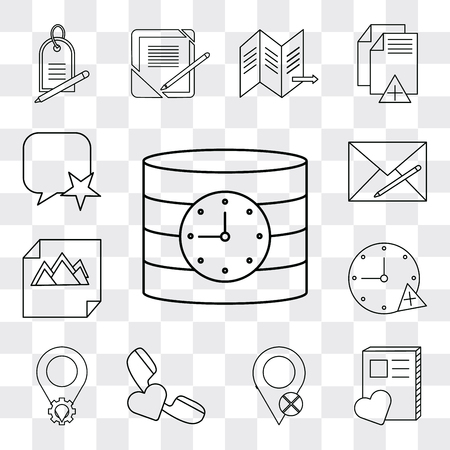 Set Of 13 simple editable icons such as Database, Notebook, Placeholder, Phone call, Stopwatch, Image, Envelope, Speech bubble, web ui icon pack