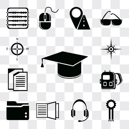 Set Of 13 simple editable icons such as Diploma, Medal, Headset, Open book, Folder, Backpack, Copy, Compass, web ui icon pack