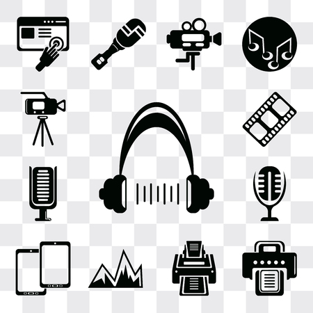 Set Of 13 simple editable icons such as Headphone, Printer, Image with mountains, Tablet, Microphone interface, Microphone, Film strip black, Video camera, web ui icon pack