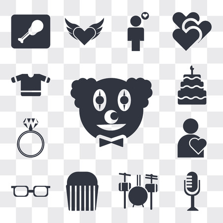 Set Of 13 simple editable icons such as Clown head, Vintage Mic, Drummer Set, Muffin Bake, Teenager with sun glasses, Man Thinking About Love, Diamond ring, web ui icon pack Ilustração