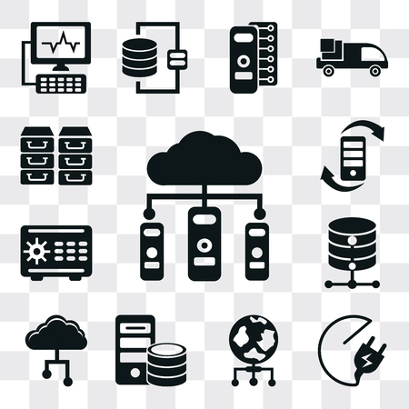 Set Of 13 simple editable icons such as Cloud computing, Plug, World, Server, Cloud, Database, Safebox, Transfer, Archive, web ui icon pack