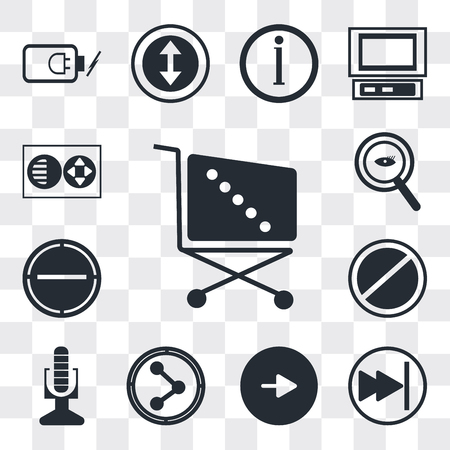Set Of 13 simple editable icons such as Supermarket Shopping cart, Pause button, Play Share, Broadcast microphone, Prohibition Circle, Minus, web ui icon pack