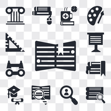 Set Of 13 simple editable icons such as Notebook with bookmark, Stack of books and magnifier, Magnifying glass, Book Graduation, eBook, Binoculars, web ui icon pack