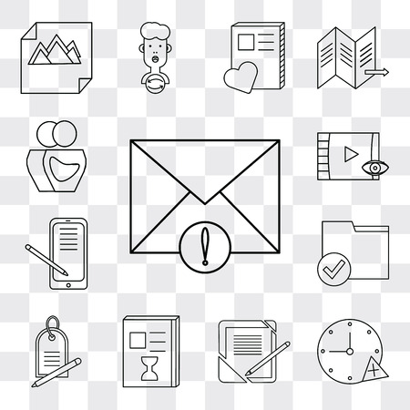 Set Of 13 simple editable icons such as Mail, Stopwatch, Notebook, List, Price tag, Folder, Smartphone, Video player, User, web ui icon pack