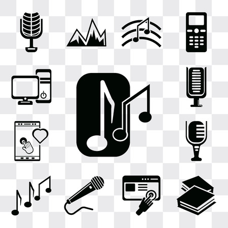 Set Of 13 simple editable icons such as Musical note, Book closed of white cover, Images interface, Microphone black shape, Music Mic, Tablet tool, Microphone, web ui icon pack