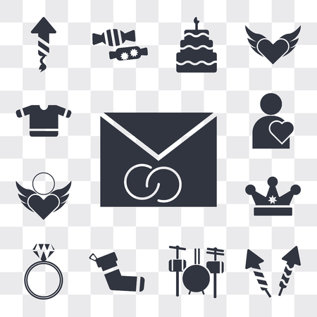 Set Of 13 simple editable icons such as Wedding Invitation, Firework rocket, Drummer Set, Christmas Sock, Diamond ring, King crown, Pure Love, Man Thinking About web ui icon pack