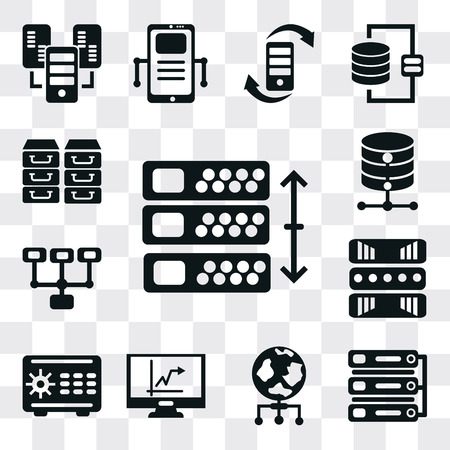 Set Of 13 simple editable icons such as Server, World, Stats, Safebox, Cloud computing, Database, Archive, web ui icon pack