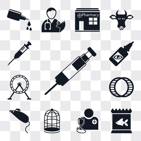 Set Of 13 simple editable icons such as Vaccine, Food, Veterinarian, Cage, Mouse toy, Hamster ball, Wheel, Eye drops, Injection, web ui icon pack Ilustração