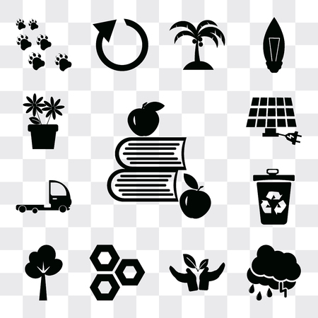 Set Of 13 simple editable icons such as Apple and books, Raining, Plant a tree, Eco cell, Tree, Recycle bin, Truck, energy power, Two Flowers, web ui icon pack Ilustração