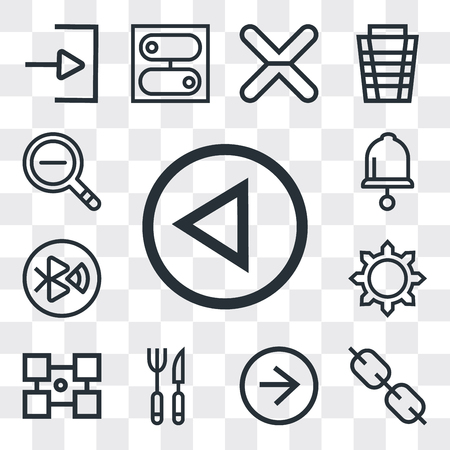 Set Of 13 simple editable icons such as Left arrow, Link, Right Cutlery, Layout, Settings, tooth, Bell, Zoom out, web ui icon pack
