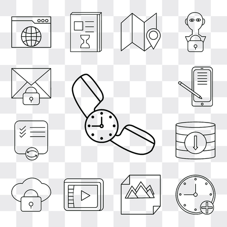Set Of 13 simple editable icons such as Phone call, Stopwatch, Image, Video player, Cloud computing, Database, List, Smartphone, Mail, web ui icon pack Ilustração