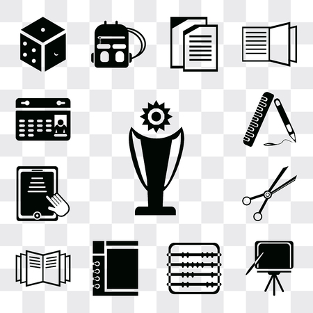 Set Of 13 simple editable icons such as Trophy, Blackboard, Abacus, Notepad, Open book, School material, Tablet, Ruler, Calendar, web ui icon pack