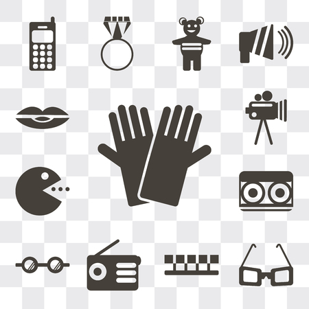 Set Of 13 simple editable icons such as Gloves, Sunglasses, Number, Radio, Eyeglasses, Cassette, Pacman, Video camera, Lips, web ui icon pack