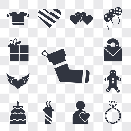 Set Of 13 simple editable icons such as Christmas Sock, Diamond ring, Man Thinking About Love, Hot Coffee Cup, Five birthday cake, Gingerbread, Devil heart with wings, web ui icon pack