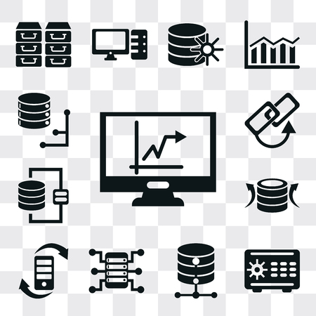 Set Of 13 simple editable icons such as Stats, Safebox, Database, Server, Transfer, Back up, Link, web ui icon pack