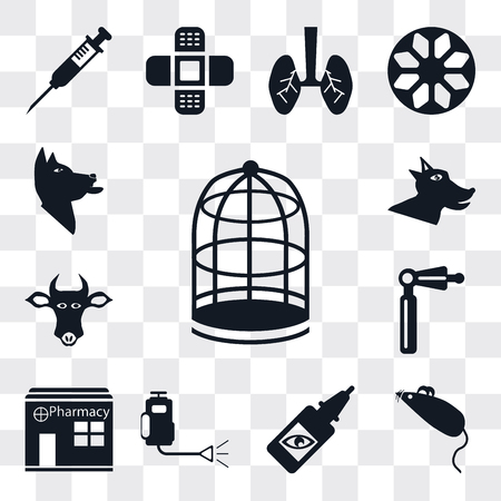 Set Of 13 simple editable icons such as Cage, Mouse toy, Eye drops, Insecticide, Pharmacy, Otoscope, Cow, Dog, web ui icon pack Ilustração