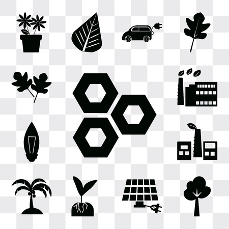 Set Of 13 simple editable icons such as Eco cell, Tree, energy power, Plant and root, Coconut tree, Factory, Light Bulb, factory, Two leaves, web ui icon pack Ilustração