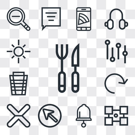 Set Of 13 simple editable icons such as Cutlery, Layout, Bell, Cursor, Cancel, Refresh, Garbage, Settings, Sun, web ui icon pack