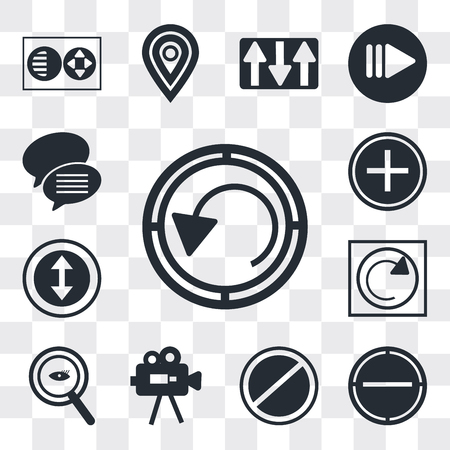 Set Of 13 simple editable icons such as Rotate circle, Minus, Prohibition Circle, Video Camera, Magnifying Glass Searcher, Reload webpage, Selectioned Nurse cross, web ui icon pack