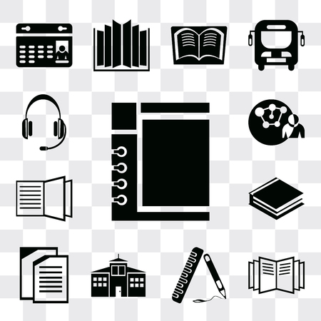 Set Of 13 simple editable icons such as Notepad, Open book, Ruler, School, Copy, Books, Connection, Headset, web ui icon pack