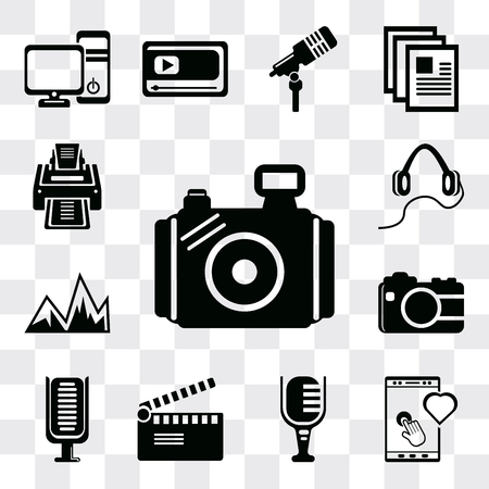 Set Of 13 simple editable icons such as Photo camera, Tablet tool, Mic, Movie clapper, Microphone, Image with mountains, Headphones, Printer, web ui icon pack