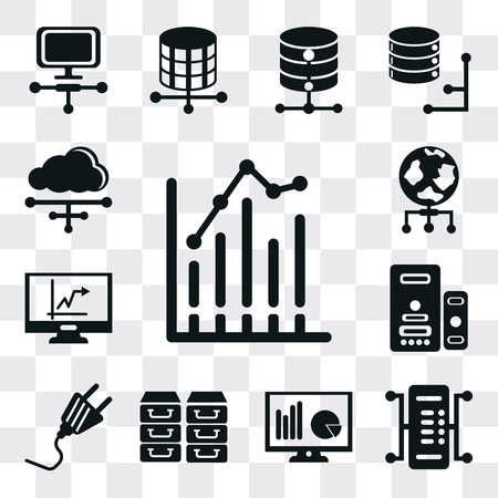 Set Of 13 simple editable icons such as Bar chart, Server, Monitor, Archive, Plug, Stats, World, Cloud, web ui icon pack