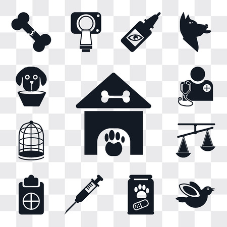 Set Of 13 simple editable icons such as Kennel, Bird, Pills, Injection, Notepad, Scale, Cage, Veterinarian, Elizabethan collar, web ui icon pack