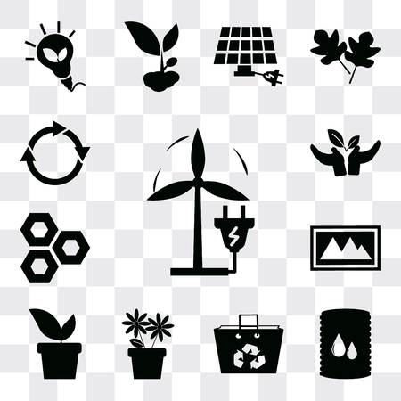 Set Of 13 simple editable icons such as Eco Plug, Bio fuel, Recycled bag, Two Flowers, Plant, Landscape Image, cell, Plant a tree, Reload, web ui icon pack Ilustração