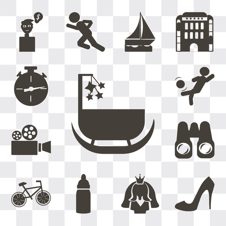 Set Of 13 simple editable icons such as Cradle, Shoe side view, Bride avatar, Baby Bottle, Cyclist, Pair of binoculars, Video camera, Person kicking ball with the knee, web ui icon pack