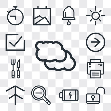 Set Of 13 simple editable icons such as Cloud, Unlock, Battery, Zoom out, Up arrow, Printer, Cutlery, Right Correct, web ui icon pack Ilustrace