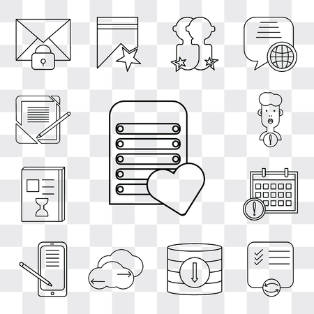 Set Of 13 simple editable icons such as Server, List, Database, Cloud computing, Smartphone, Calendar, User, Notebook, web ui icon pack