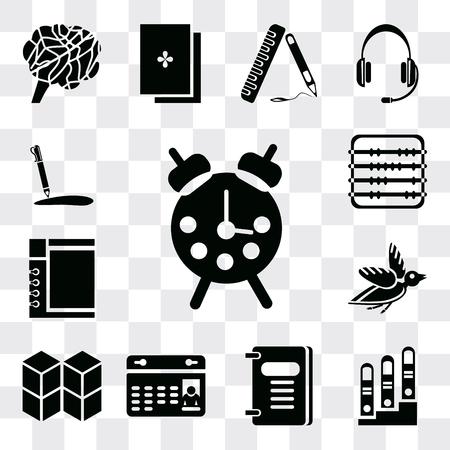 Set Of 13 simple editable icons such as Alarm clock, Notepad, Agenda, Calendar, Cubes, Bird, Abacus, Pencil, web ui icon pack