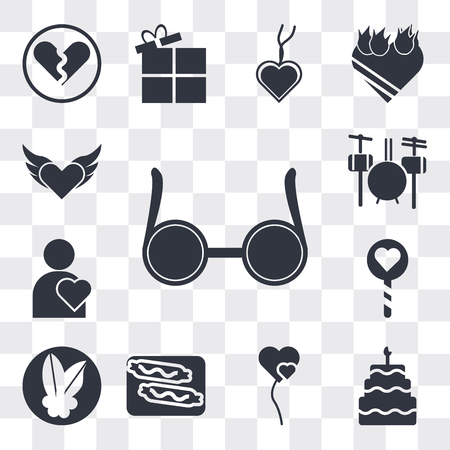 Set Of 13 simple editable icons such as Circular glasses, Five birthday cake, Two Heart shaped balloons, Burning sausage on a fork, Mistletoe Leaves, Lollipop, web ui icon pack