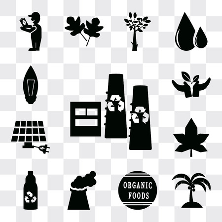 Set Of 13 simple editable icons such as Recycling factory, Coconut tree, 100 percent natural products tag, Power plant, Recycled bottle, Mapple leaf, Eco energy power, web ui icon pack