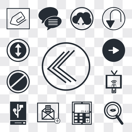 Set Of 13 simple editable icons such as Go back button, Magnifying Glass Searcher, Calculator, Open envelope, External hard drive, Tv remote, Prohibition Circle, Play web ui icon pack Ilustração