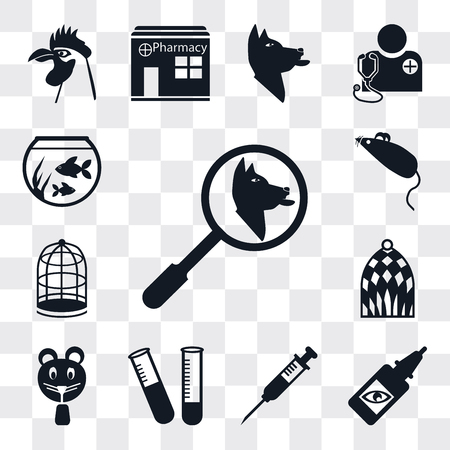 Set Of 13 simple editable icons such as Search, Eye drops, Injection, Test tube, Hamster, Bird cage, Cage, Mouse toy, Fish bowl, web ui icon pack