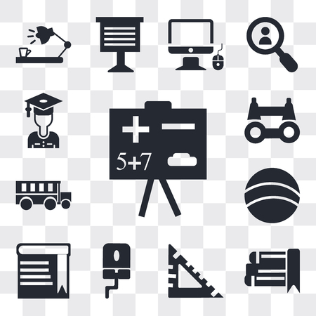 Set Of 13 simple editable icons such as Math class, eBook, square, Computer Mouse, Book with bookmark, Basketball, School bus, Binoculars, Stack of books, web ui icon pack