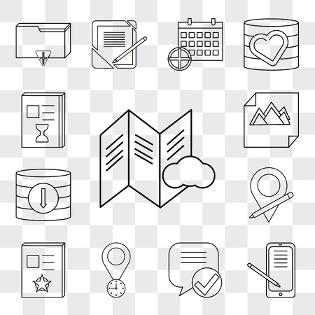 Set Of 13 simple editable icons such as File, Smartphone, Speech bubble, Placeholder, Notebook, Database, Image, List, web ui icon pack