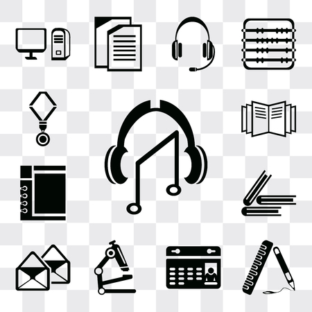 Set Of 13 simple editable icons such as Audiobook, Ruler, Calendar, Microscope, Email, Book, Notepad, Open book, Medal, web ui icon pack Banco de Imagens - 112215364