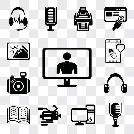 Set Of 13 simple editable icons such as Screen in white, Mic, Computer tower and the monitor, Video camera, Books couple, Headphone variant, Photo Tablet tool, Image, web ui icon pack