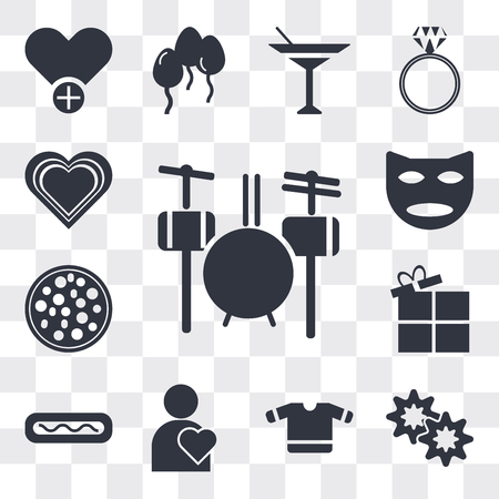 Set Of 13 simple editable icons such as Drummer Set, Flower shaped biscuits, T shirt with heart, Man Thinking About Love, Hot dog mustard, Open Present Box, web ui icon pack Ilustração