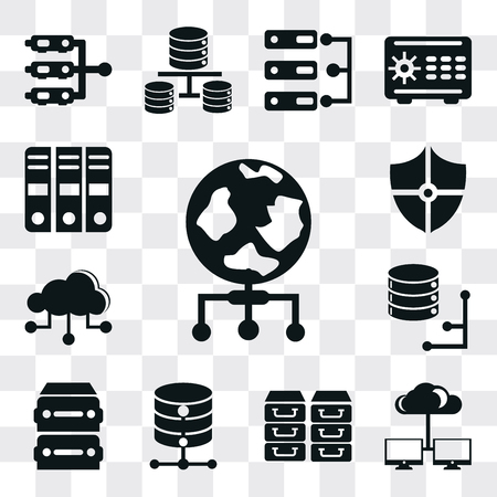 Set Of 13 simple editable icons such as World, Cloud computing, Archive, Database, Cloud, Shield, web ui icon pack Ilustração