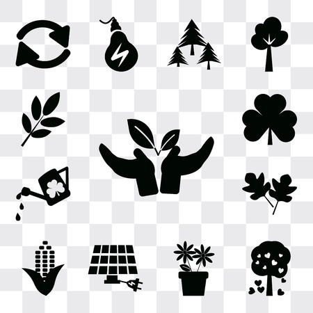 Set Of 13 simple editable icons such as Plant a tree, Tree with hearts, Two Flowers, Eco energy power, Corn, leaves, Watering Can, Leaves, Trash can, web ui icon pack