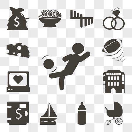 Set Of 13 simple editable icons such as Person kicking ball with the knee, Stroller, Baby Bottle, Sailboat drifting, Safe money, Hotel building, Heart rate monitor, web ui icon pack