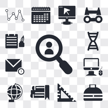 Set Of 13 simple editable icons such as Magnifying glass, Office briefcase, square, eBook, Globe, Monitor and computer mouse, New message, DNA strand, Ink Bottle, web ui icon pack
