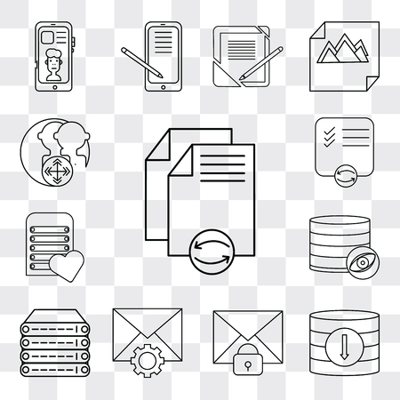 Set Of 13 simple editable icons such as File, Database, Mail, Server, List, User, web ui icon pack