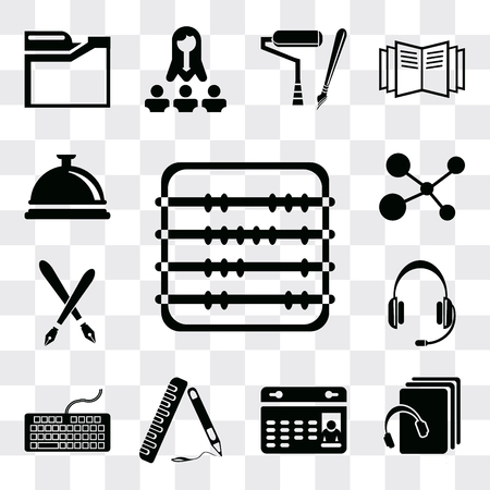 Set Of 13 simple editable icons such as Abacus, Audiobook, Calendar, Ruler, Keyboard, Headset, Fountain pen, Cells, Bell, web ui icon pack