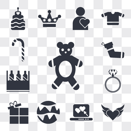 Set Of 13 simple editable icons such as Teddy Bear with sleep hat, Devil heart wings, Laptop a Heart, Celebration garlands, Open Present Box, Diamond ring, web ui icon pack Ilustração
